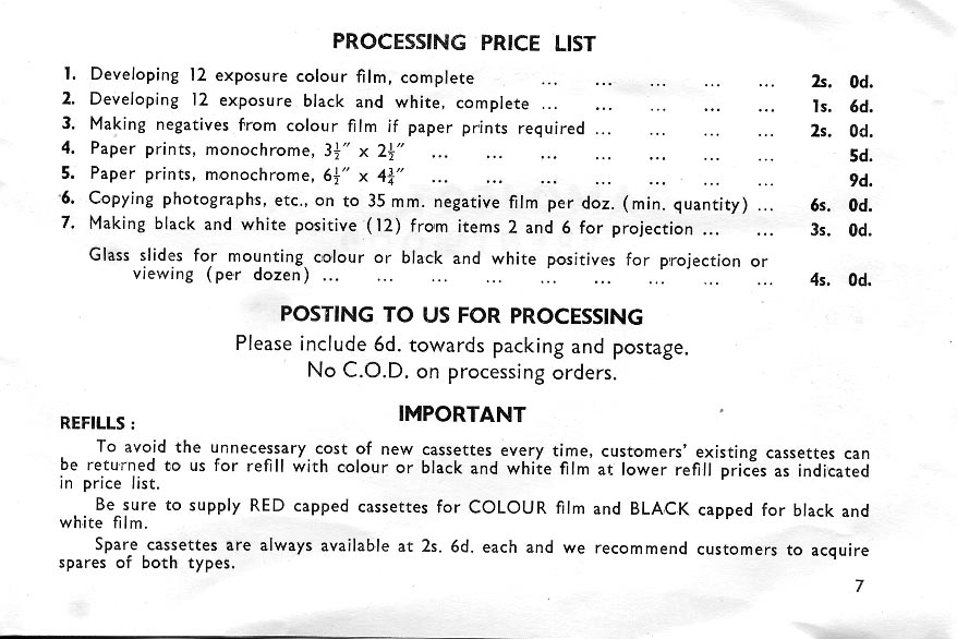Camoject instructions & price list
