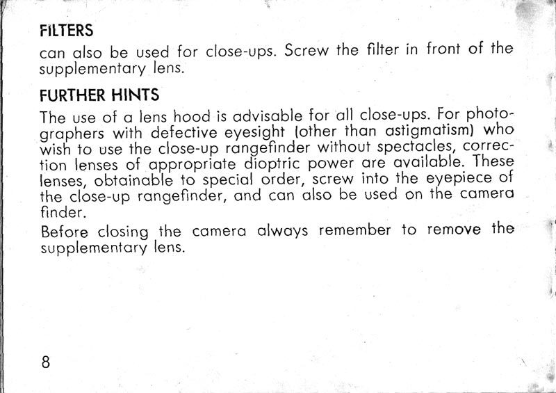 Kodak Retina Close-up rangefinder instructions