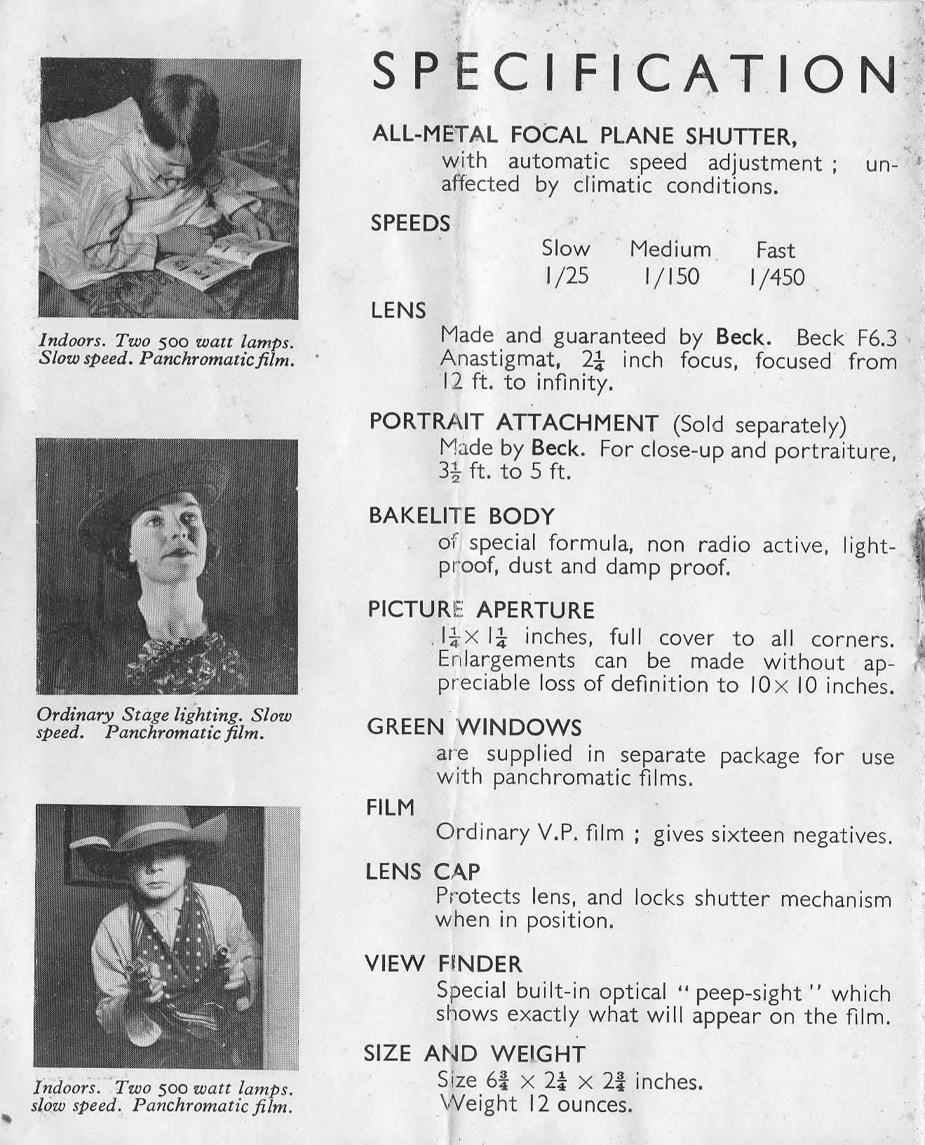 Purma Special bakelite camera instructions