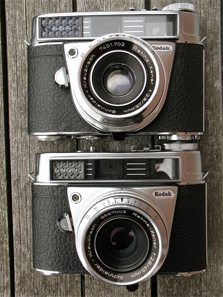 early and late Kodak Retina Automatic III 35mm rangefinder cameras